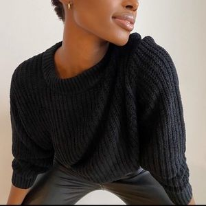 WILFRED   S ESSENTIAL CHENILLE SWEATER BLACK KNIT